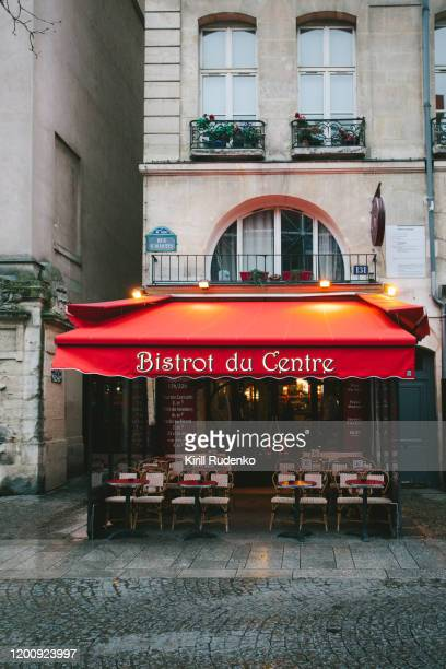 sidewalk café in central paris, france - french culture stock pictures, royalty-free photos & images