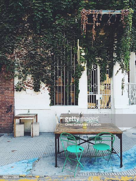 sidewalk cafe by ivy-covered building - buenos aires photos et images de collection