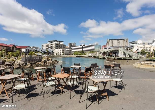 Sidewalk cafe in the Wellington waterfront, New Zealand capital city.