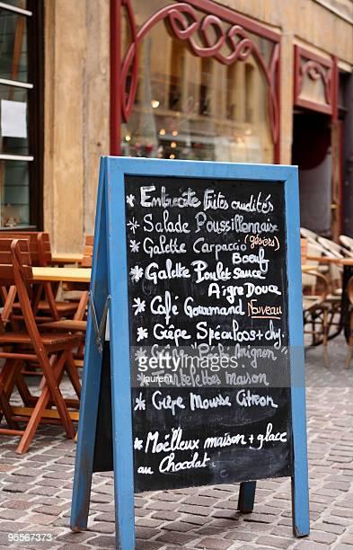 menu de café avec terrasse