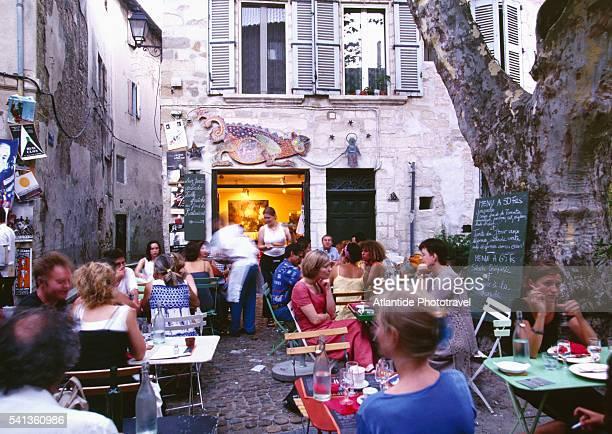 Sidewalk Cafe on Rue des Teinturiers in Avignon