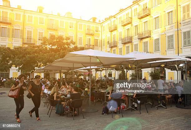 Sidewalk cafes in Place Garibaldi, Nizza, French Riviera, France