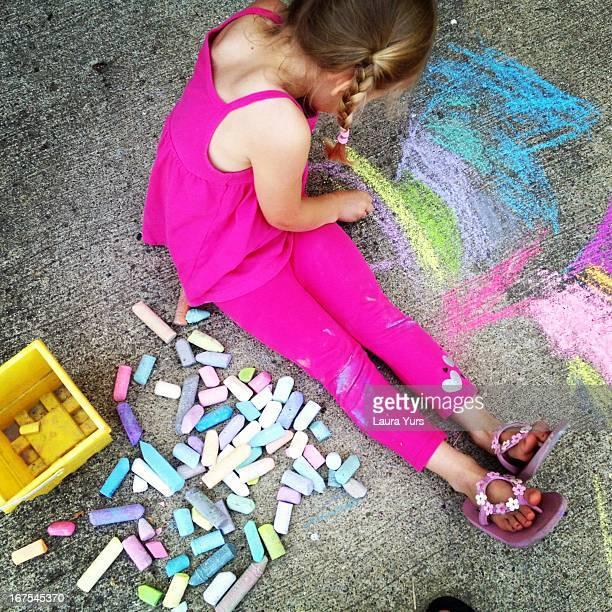 sidewalk chalk and pigtails