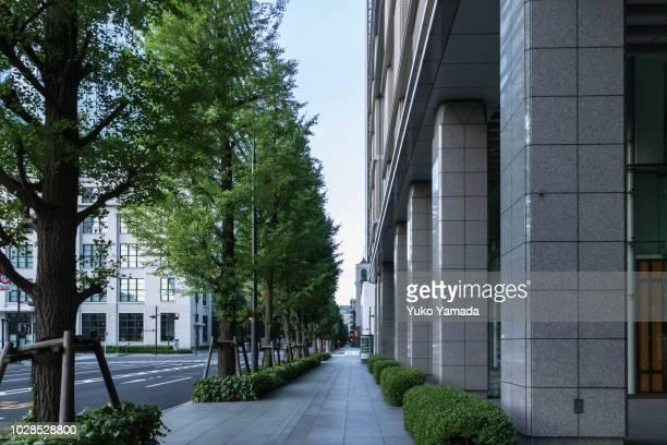 sidewalk in marunouchi, tokyo, japan - 丸の内 ストックフォトと画像