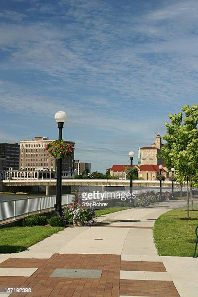Sidewalk in Park, Dayton, Ohio Skyline