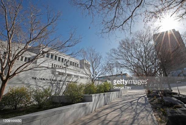 A sidewalk is empty in front of the Conference Center during the 190th Annual General Conference of the Church of Jesus Christ of LatterDay Saints on...