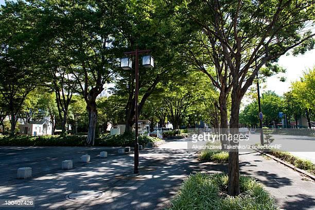 Sidewalk next to park, Nagoya city, Aichi Prefecture, Japan
