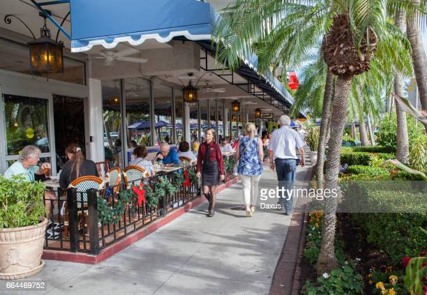 sidewalk view in st armands circle - sarasota stock photos and pictures