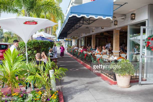 sidewalk view in st armands circle - sarasota stock pictures, royalty-free photos & images