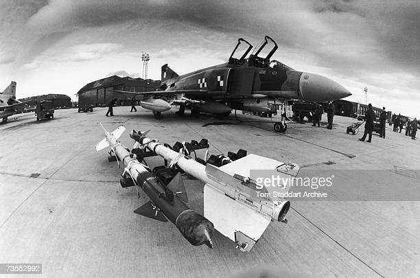 Sidewinder airtoair missiles ready to be mounted on a McDonnell Douglas F4 Phantom of the RAF during a British nationwide alert exercise 5th7th March...