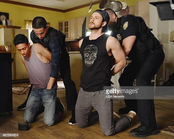 GRACELAND 'Sidewinder' Episode 306 Pictured Mahedi Rakib as Gusti Manny Montana as Joe 'Johnny' Tuturro Aaron Tveit as Mike Warren