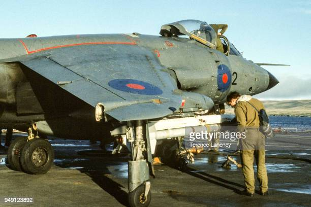 Sidewinder missile on an 800 squadron Sea Harrier aircraft landing on HMS Fearless L10 during the Falklands War 1982 It was unable to land at the...