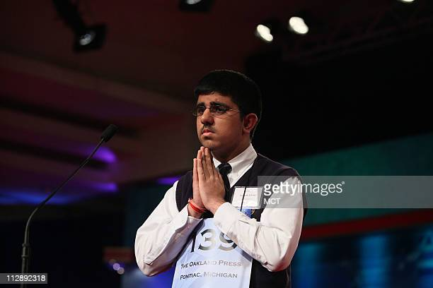 Sidharth Chand of Pontiac Michigan reacts after misspelling apodyterium during the 2009 Scripps National Spelling Bee competition Thursday May 28 in...