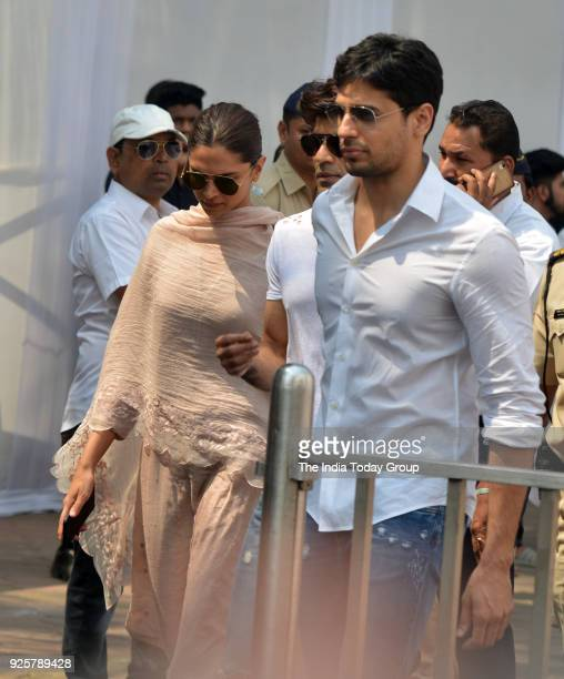 Sidharth Malhotra and Deepika Padukone arrives at Celebration Sports Club to pay last respects to Sridevi in Mumbai