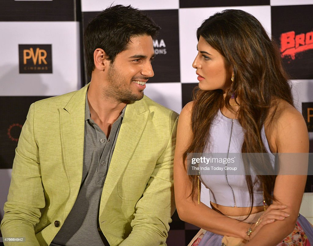 Sidharth Malhotra and Jacqueline Fernandez at the trailer launch of their upcoming movie Brothers in Mumbai