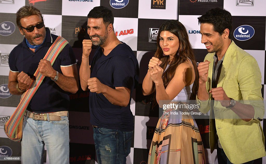 Sidharth Malhotra Jackie Shroff and Jacqueline Fernandez and Akshay Kumar at the trailer launch of their upcoming movie Brothers in Mumbai