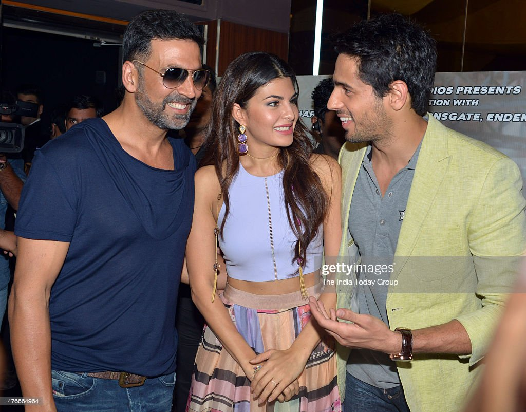 Sidharth Malhotra Jacqueline Fernandez and Akshay Kumar at the trailer launch of their upcoming movie Brothers in Mumbai