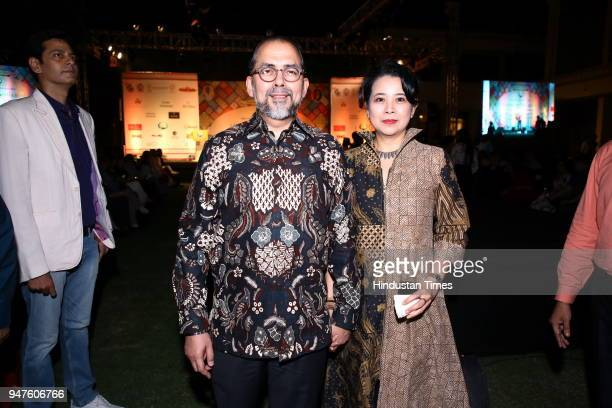 Sidharto R Suryodipuro and Dewi Ratna during the Fashion Show to promote Ahimsa Silk and Khadi on April 1 2018 in New Delhi India