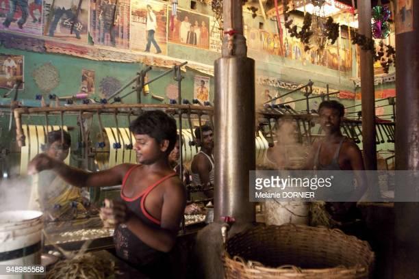 Sidhgata en juin 2013 vue d'ateliers de filature ou le cocon est transforme en un filament de soie Le cocon est trempe dans de l'eau bouillante pour...