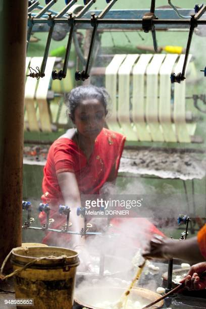 Sidhgata en juin 2013 vue d'ateliers de filature ou le cocon est transforme en un filament de soie Le cocon est trempee dans de l'eau bouillante pour...