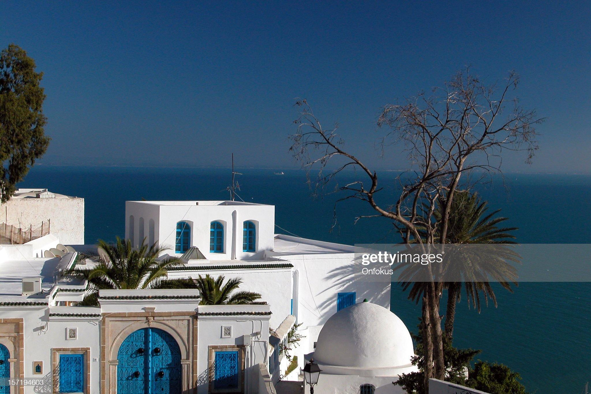 Sidi Bou Said blu e bianco architettura, Tunisia : Foto stock