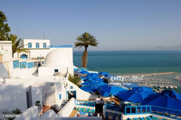 Sidi Bou Said is a touristic village in the suburban area of Tunis, the houses are white and blue on may 15, 2015 in Tunis, Tunisia.