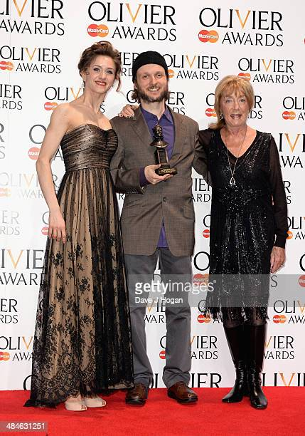 Sidi Larbi Cherkaoui with his Best New Dance Production award with award presenters Marianela Nunez and Dame Gillian Lynne during the Laurence...