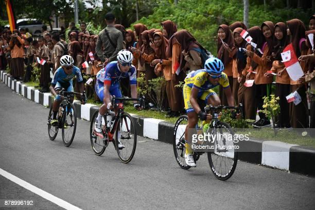 Sidik Dikdik Permana of PGN Road Cycling Team Indonesia leads the peloton during stage 8 of the Tour de Singkarak 2017 Padang PariamanAgam 1352 km on...