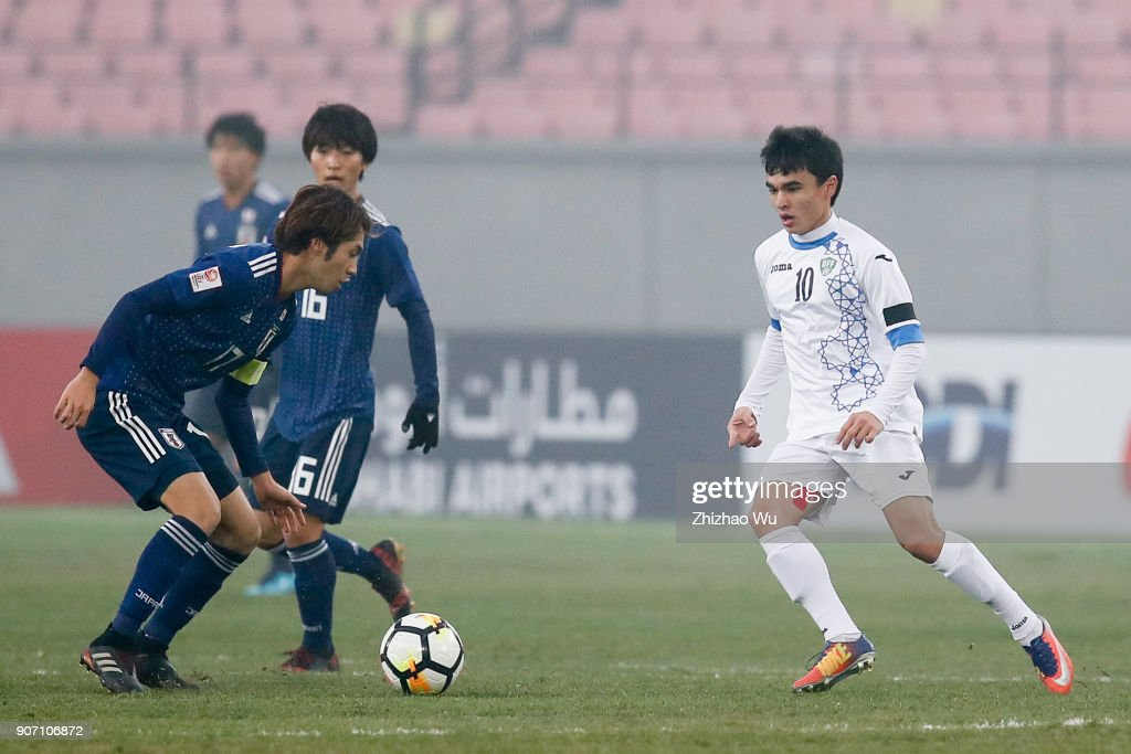 Sidikov Javokhir of Uzbekistan in action during AFC U23 Championship Quarter-final between Japan and Uzbekistan at Jiangyin Sports Center on January 19, 2018 in Jiangyin, China.