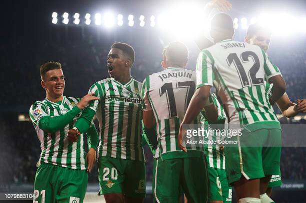 Sidnei of Real Betis Balompie celebrates after scoring during the La Liga match between Real Betis Balompie and Rayo Vallecano de Madrid at Estadio...