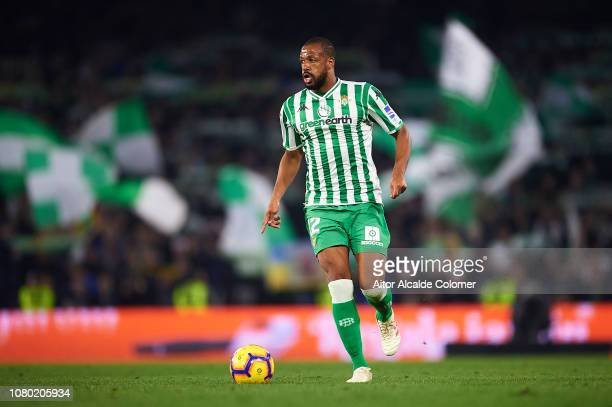 Sidnei of Real Betis Balompie in action during the La Liga match between Real Betis Balompie and Rayo Vallecano de Madrid at Estadio Benito...