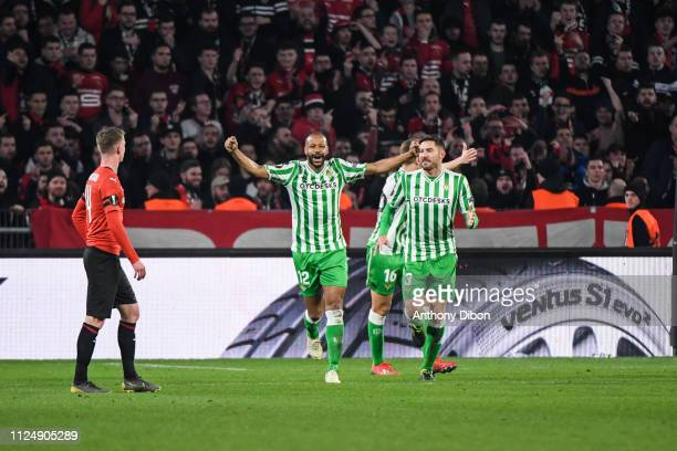 Sidnei of Real Betis celebrates a goal during the UEFA Europa League Round of 32 First Leg match between Rennes and Real Betis at Roazhon Park on...
