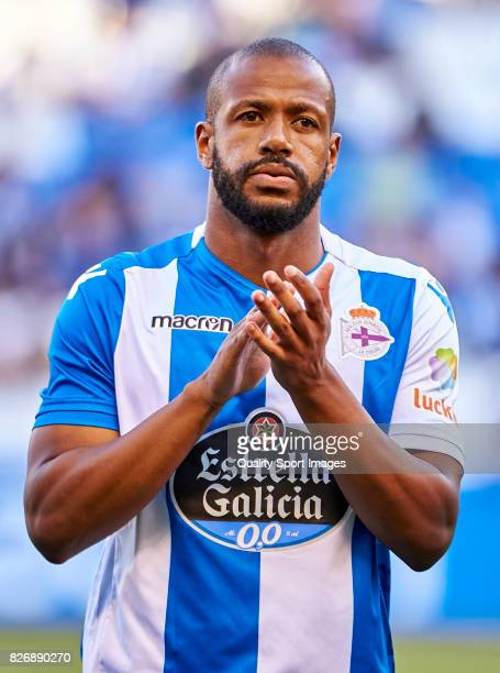 Sidnei Rechel Da Silva of Deportivo de La Coruna looks on prior to the Pre Season Friendly match between Deportivo de La Coruna and West Bromwich...