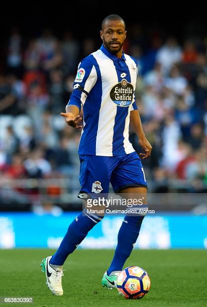 Sidnei Rechel of Deportivo de La Coruna runs with the ball during the La Liga match between Valencia CF and Deportivo de La Coruna at Mestalla...