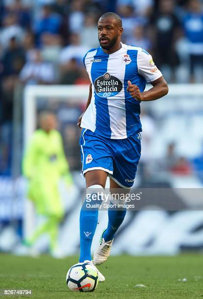Sidnei Rechel of Deportivo de La Coruna runs with the ball during the Pre Season Friendly match between Deportivo de La Corua and West Bromwich...