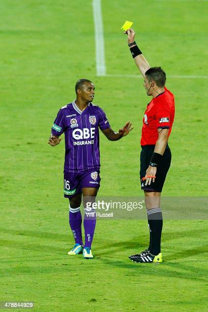 Sidnei Sciola Moraes of the Glory is shown the yellow card during the round 23 ALeague match between Perth Glory and Melbourne Victory at nib Stadium...