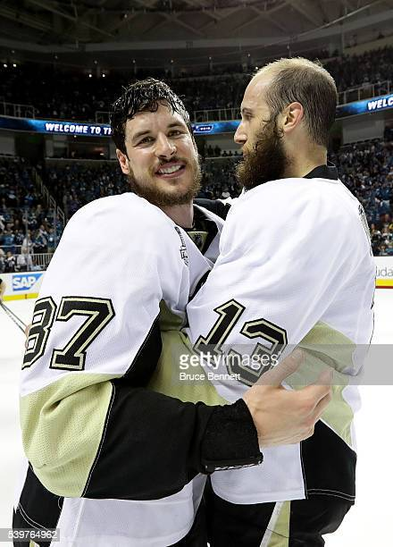 Sidney Crosby and Nick Bonino of the Pittsburgh Penguins celebrate after their 31 victory to win the Stanley Cup against the San Jose Sharks in Game...