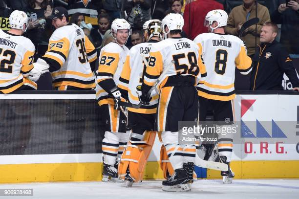 Sidney Crosby Casey DeSmith Kris Letang and Brian Dumoulin of the Pittsburgh Penguins are seen after a victory over the Los Angeles Kings at STAPLES...