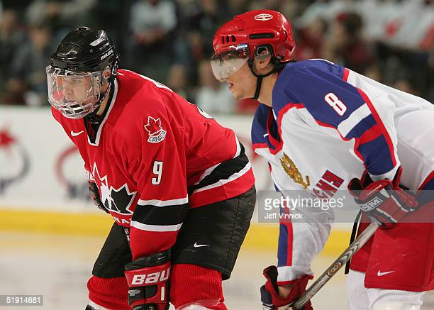 Sidney Crosby of Canada and Alexander Ovechkin of Russia stand in the face off circle during their gold medal game at the World Junior Hockey...