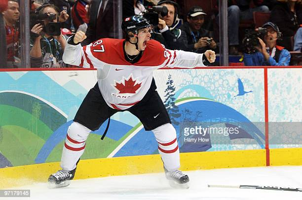 Sidney Crosby of Canada celebrates after scoring the matchwinning goal in overtime during the ice hockey men's gold medal game between USA and Canada...