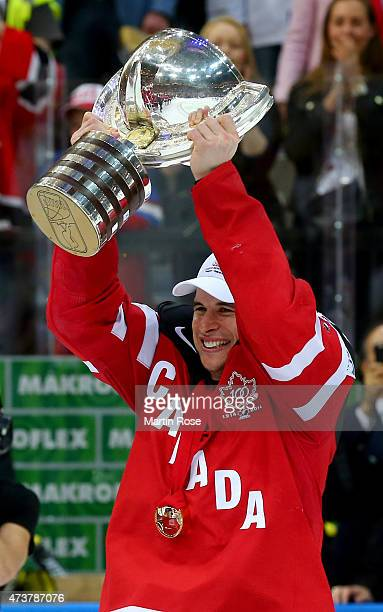 Sidney Crosby of Canada lifts the trophy after winning the IIHF World Championship gold medal match between Canada and Russia at O2 Arena on May 17...