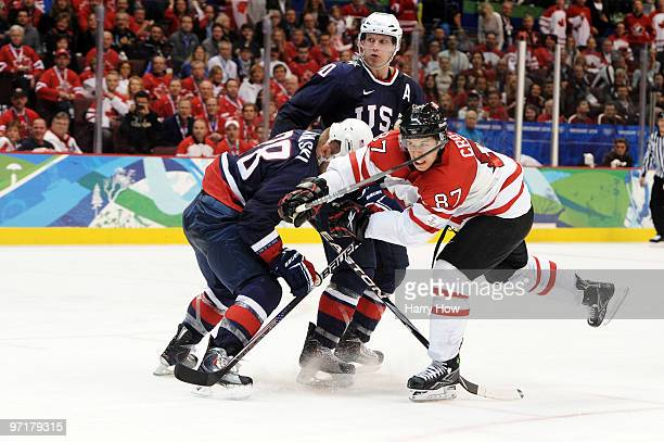 Sidney Crosby of Canada scores the matchwinning goal in overtime during the ice hockey men's gold medal game between USA and Canada on day 17 of the...