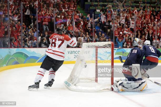 Sidney Crosby of Canada skates around the net after scoring the matchwinning goal in the first overtime during the ice hockey men's gold medal game...
