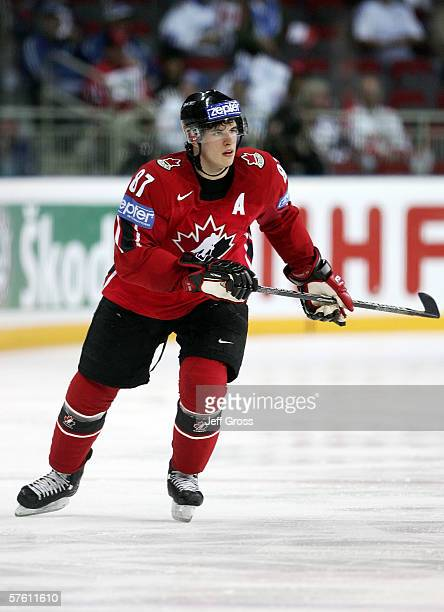 Sidney Crosby of Canada skates during the IIHF World Championship qualifying game between Canada and the Czech Republic at Riga Arena on May 14 2006...