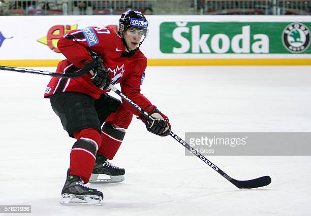 Sidney Crosby of Canada skates with the puck during the IIHF World Championship qualifying game between Canada and Finland at Riga Arena on May 15...