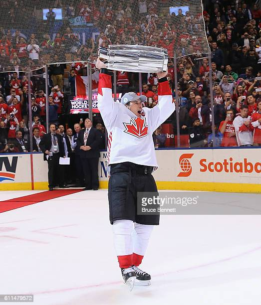 Sidney Crosby of Team Canada celebrates after a 2-1 victory over Team Europe during Game Two of the World Cup of Hockey final series at the Air...