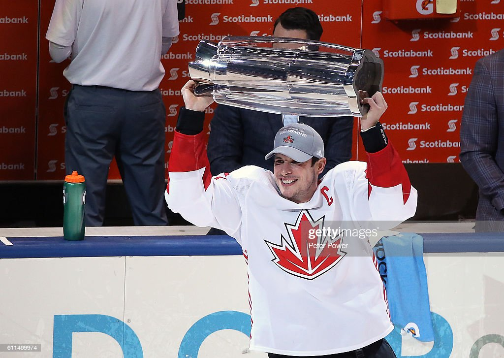 Sidney Crosby #87 of Team Canada celebrates with the trophy after his team defeated Team Europe during Game Two of the World Cup of Hockey final series at the Air Canada Centre on September 29, 2016 in Toronto, Canada. Team Canada defeated Team Europe 2-1.