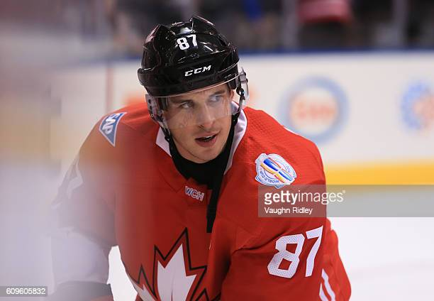 Sidney Crosby of Team Canada warms up prior to a game against Team Europe during the World Cup of Hockey 2016 at Air Canada Centre on September 21,...