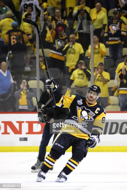 Sidney Crosby of the Pittsburgh Penguins acknowledges the fans after defeating the Nashville Predators in Game Five of the 2017 NHL Stanley Cup Final...