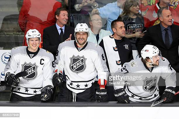 Sidney Crosby of the Pittsburgh Penguins Alex Ovechkin of the Washington Capitals and Justin Faulk of the Carolina Hurricanes react during the 2017...